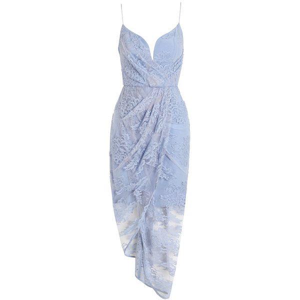 Zimmermann Seer Plunge Drape Dress ($995) ❤ liked on Polyvore featuring dresses, blue draped dress, draped dress, zimmermann dress, lacy dress and corset style dress
