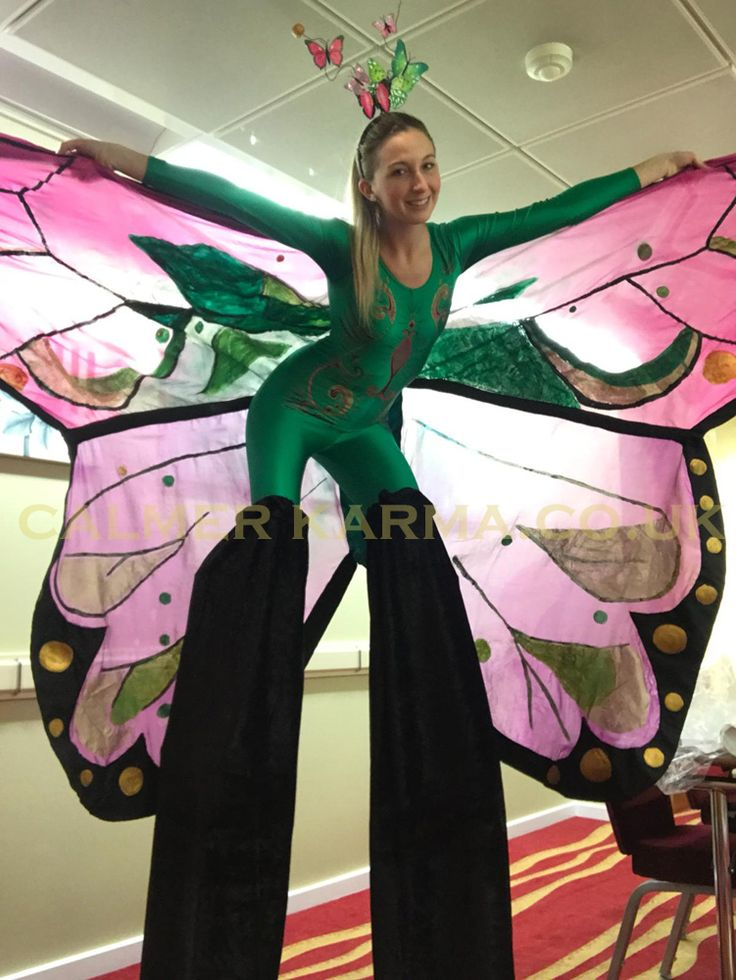 Beautiful butterfly stilt - perfect for garden themed events, weddings, summer parties.  This butterfly has strong pinks and greens and is the perfect compliment for Garden Goddess collection. Available to hire in the UK and internationally - Manchester, London, Birmingham, Leeds, Sheffield, Brighton, Wales