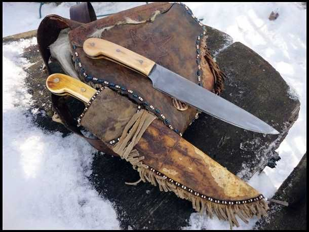 Longhunter knife  leather bag and rawhide sheath