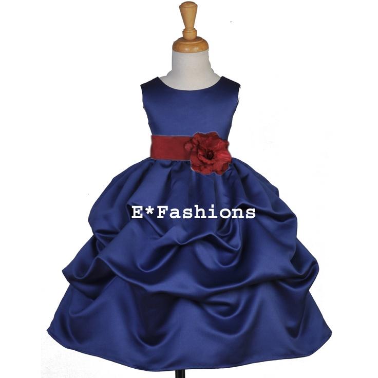Navy Blue Burgundy Red Christmas Flower Girl Dress 6 9M 12 18M 2 4 5 6 7 8 9 10 | eBay