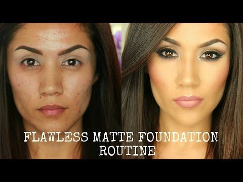 FLAWLESS FULL COVERAGE MATTE FOUNDATION TUTORIAL I OILY/COMBO SKIN (UPDATED) - YouTube