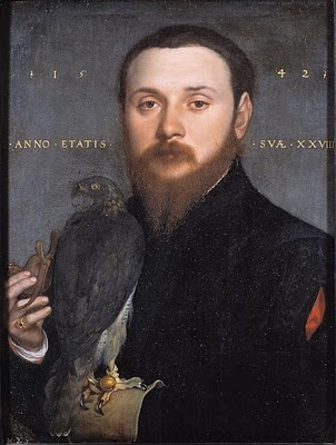 Hans Holbein the Younger - Portrait of Nobleman with a falcon, 1542