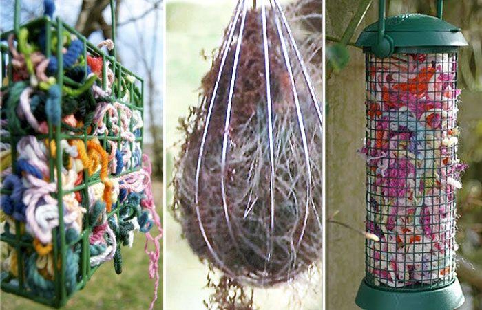 Garnbitar, hundhår, torkat gräs, fjädrar, hårtussar och kvistar – småfåglar tar tacksamt emot allmosor när det är dags att samla byggmaterial till sina bon. Samla materialet efter hand och häng upp i träd och buskar.