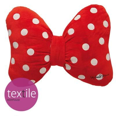 Walt Disney Minnie Mouse Oh My! Bow Shaped Red & White Polka Dot Filled Cushion on eBay!