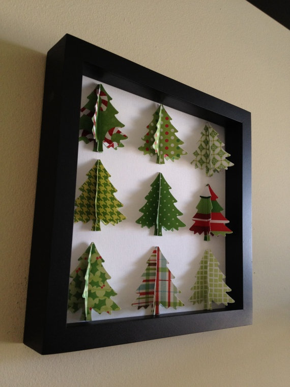 Green Christmas Tree 3D Paper art by PaperLine on Etsy, $35.00