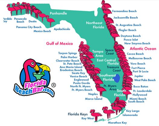 Beach map of Beach bars in Florida!