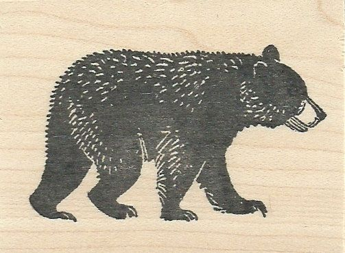 Walking Black Bear Wood Mounted Rubber Stamp Glass