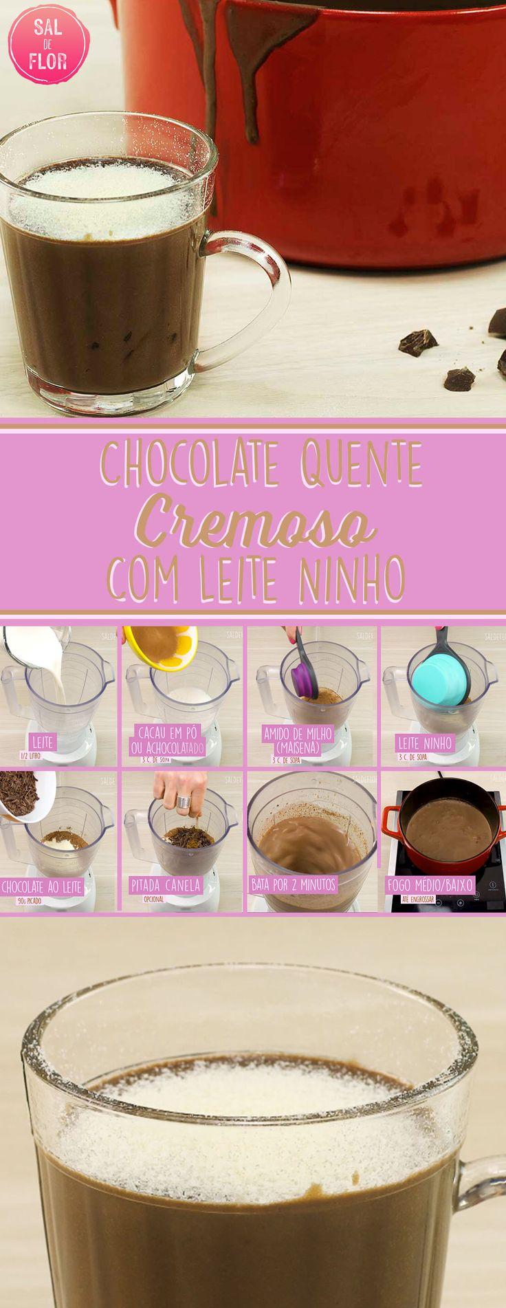 Chocolate quente super cremoso com leite ninho. Fica maravilhosos!!