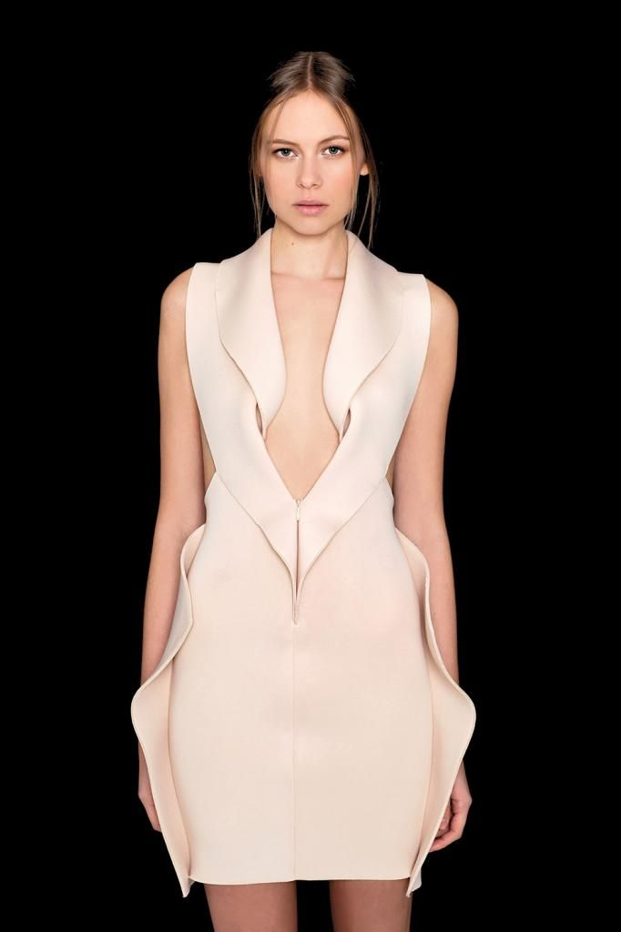 Soft organic vertical lines add height and appear soft and feminine.  Beautifully balanced, structured symmetry - minimal dress with gently rippled, sculpted edges - fashion details // Minette Shuen