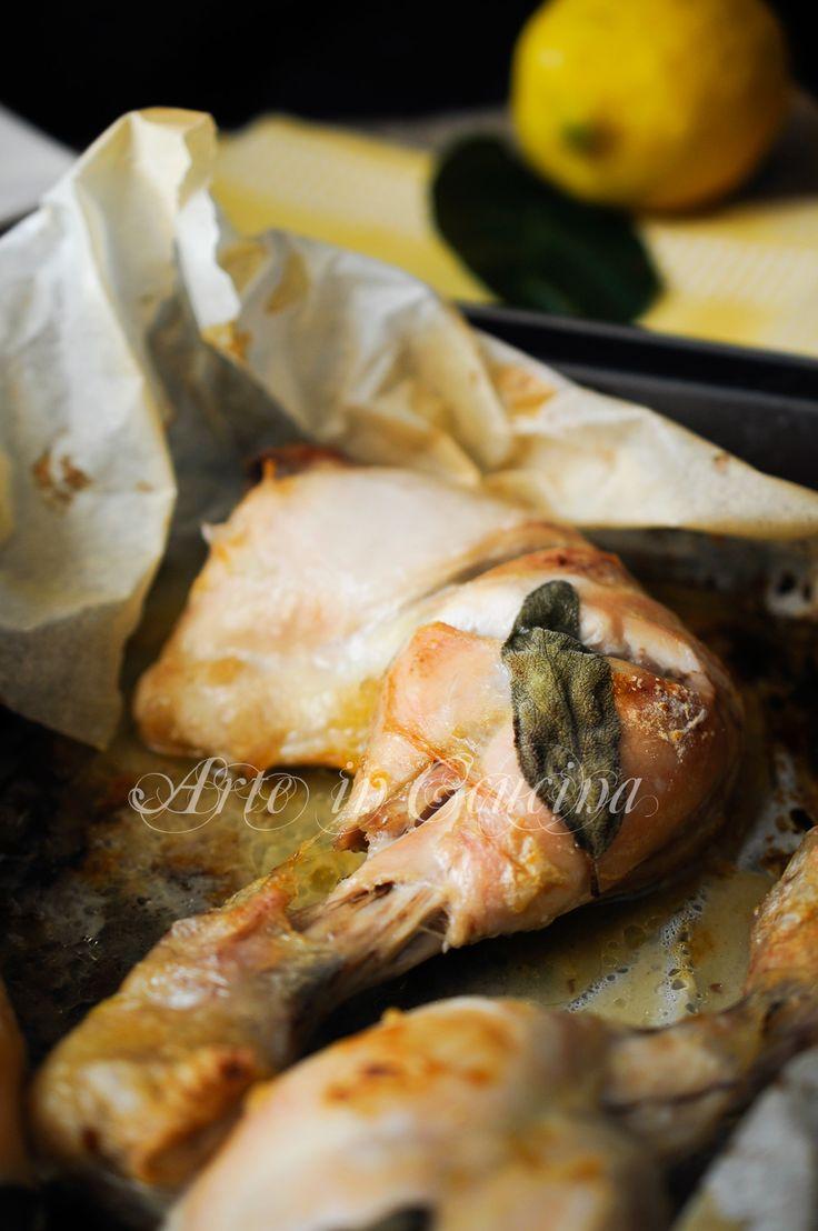 Cosce di pollo al cartoccio con limone e salvia vickyart arte in cucina