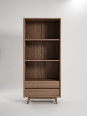 Karpenter Vintage Bookcase with 2 Shelves, 2 Drawers - Danish style furniture from Curious Grace