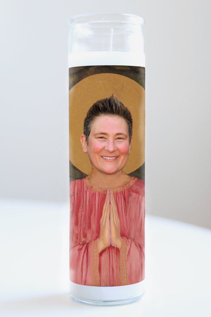 """K.D. Lang  Saint K.D. Lang featured on Illuminidol's Texas-made 8"""" prayer candle. The most divine way to bless any Lang disciple!  Texas Made 8"""" in height Unscented Ships anywhere in the US via Priority Mail International Shipping? Please contact info@illuminidol.com Custom and Wholesale options available  #kdlang #country #pop #singer #music #canada #canadian #popular #famous #celebrities #pray #candles #art #beautiful #memes #blessed #lit #fire #funny #lol #austin #texas #local #business"""
