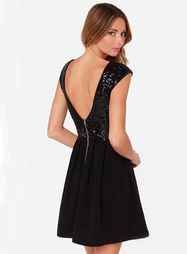 Black Cap Sleeve Sequined V Back Pleated Dress - Fashion Clothing, Latest Street Fashion At Abaday.com