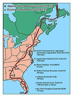 Eastern Continental Trail (ECT) - the north and south extension on the AT to cover the whole east coast