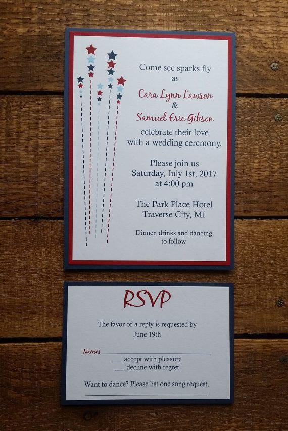 proper response time for wedding rsvp%0A  th of July Wedding Invitation  u     RSVP Sparks by HappyHeartInvites