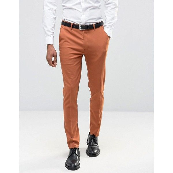ASOS Skinny Suit Pants in Rust ($35) ❤ liked on Polyvore featuring men's fashion, men's clothing, men's pants, men's dress pants, tan, mens skinny fit dress pants, mens skinny dress pants, mens skinny suit pants, mens tan dress pants and mens stretch pants