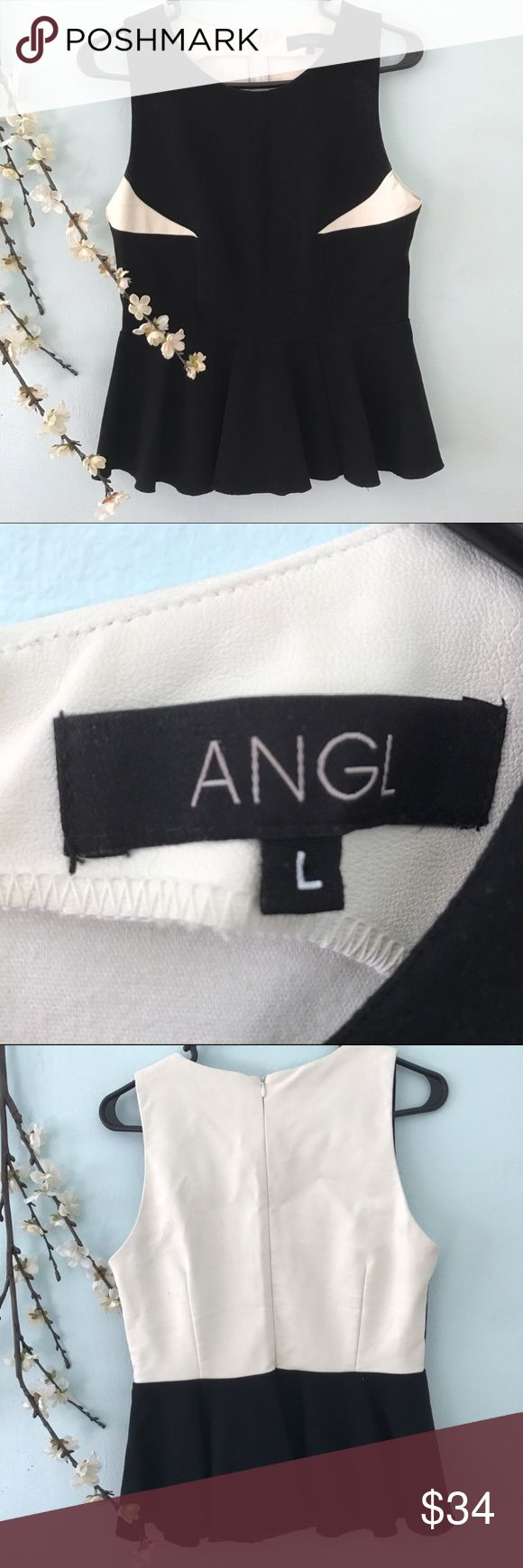 ANGL peplum L black and cream leather top Blouse ANGL peplum L black and cream leather top Blouse / feel free to ask questions ANGL Tops Blouses