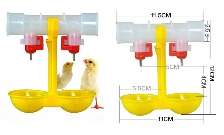Double drip cups automatic nipple drinker. This double drip cups automatic nipple drinker is widely used for chicken, duck, birds automatic water feeding, with high cost performance.