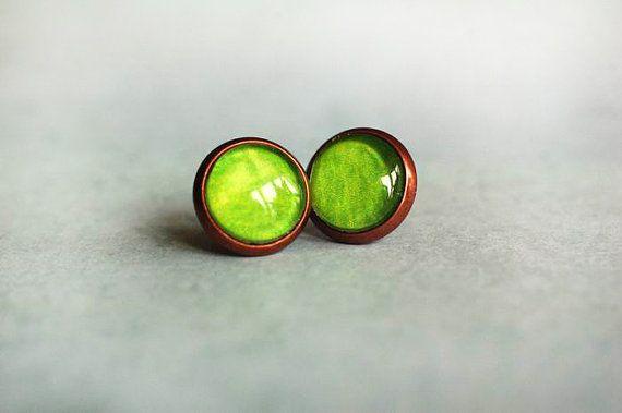 Art Stud Earrings Watercolor Earrings Art Jewelry Modern Earrings  Art Earrings  handmade by Evartstudio