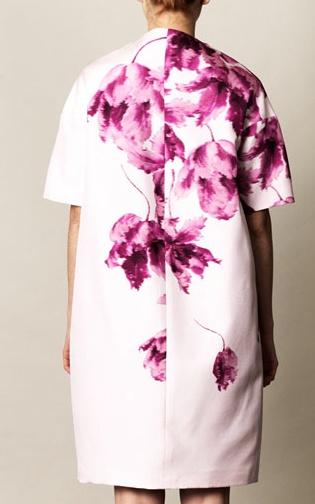 Orchid-print silk coat. Giambattista Valli