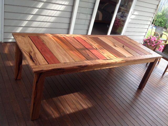 Mixed hardwood timber outdoor table