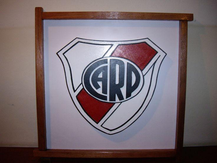 River Plate: Cuadro realizado en maderas de 1 pulgada, caladas y pintadas. Escudos y logos a pedido.