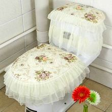 US $11.05 Superior 3 Pcs/Set Home Lace Fabric Toilet Seat Cover Tank Cover Toilet Chair Cover Decor U-shaped Overcoat Rug Bathroom Set. Aliexpress product