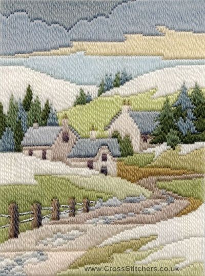 Winter Cottage Long Stitch (needlepoint) Kit by Derwentwater Designs from the range 'Seasons in Long Stitch' designed by Rose Swalwell.