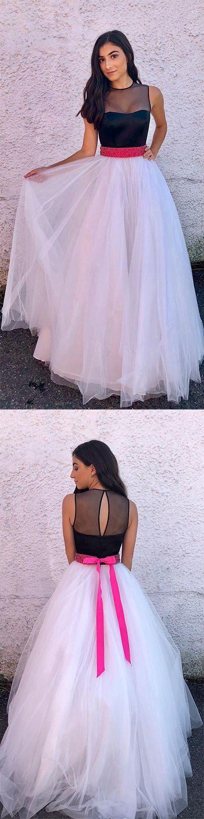 Elegant Prom Gown,Black and White Prom Dresses,Tulle Evening Dress,Long Prom Dress,Open Back Prom Dresses,Evening Dress,Formal Women Dress #tulle #blacktop #prom #prom #okdresses