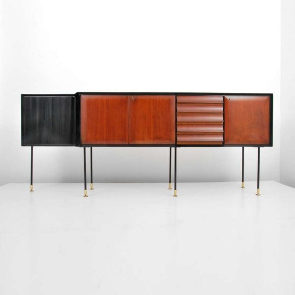 Osvaldo Borsani Attributed; Wood, Lacquered Wood, Enameled Metal and Brass Sideboard, c1955.