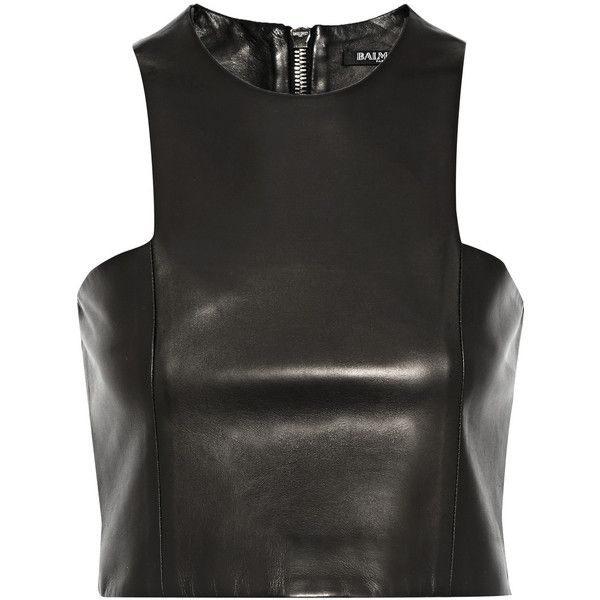 Balmain Cropped leather top ($1,410) ❤ liked on Polyvore featuring tops, crop tops, shirts, balmain, zipper crop top, leather top, balmain shirt, shirts & tops and crop shirts