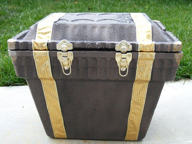 this person made a pirate chest out of a styrofoam cooler - very inventive!