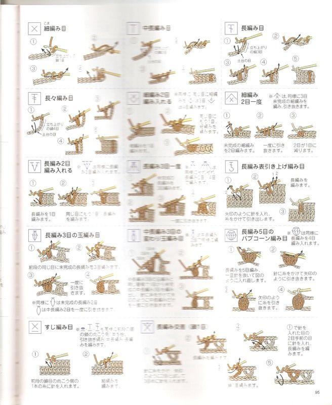 Japanese Knitting Chart Symbols : Best images about japaneese knitting symbols on