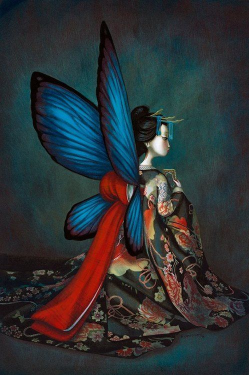 Benjamin Lacombe #art #painting #illustration #surreal #fantasy #girl #beautiful #geisha #butterfly