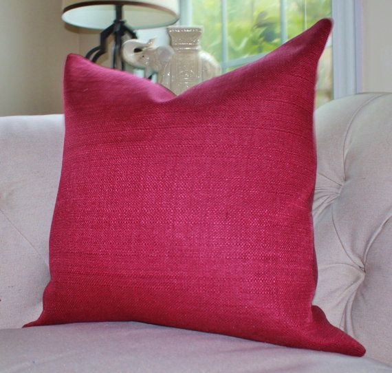 Dark Red Decorative Pillow : Maroon Red Pillow - Raspberry Pillow Cover - Dark Magenta Pillow Cover - Solid Pink Pillow ...