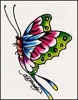 "Ed Hardy-Multi-Colored Butterfly Temporaray Tattoo by Tattoo Fun. $4.95. This pretty and unique temporary tattoo has a butterfly that is cute and simple with green, pink, blue and purple colors throughout it. 3 1/2"" x 2 1/2"""