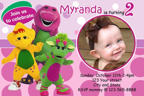 Barney the Dinosaur Birthday Party photo Invitations by 10x10us