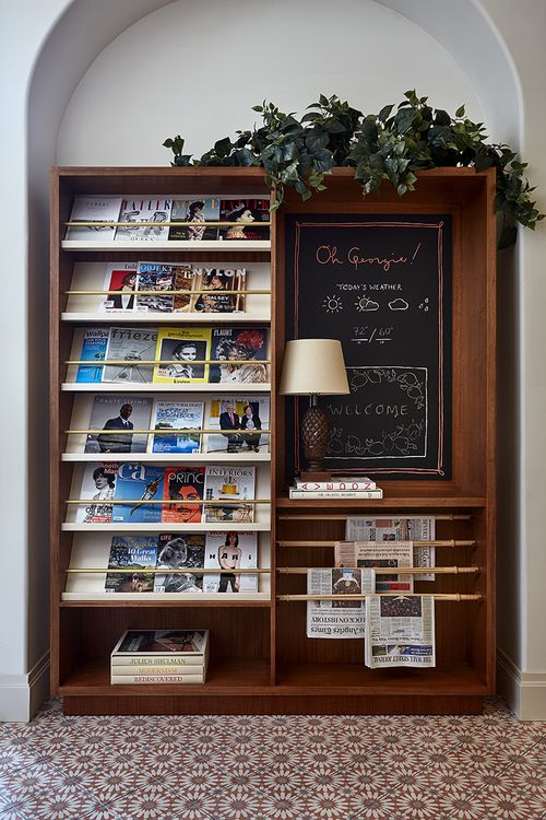 Inn entryway inspiration. Chalkboard with weather and news. -Nikki Glazer of GrayBarns on the Silvermine River.