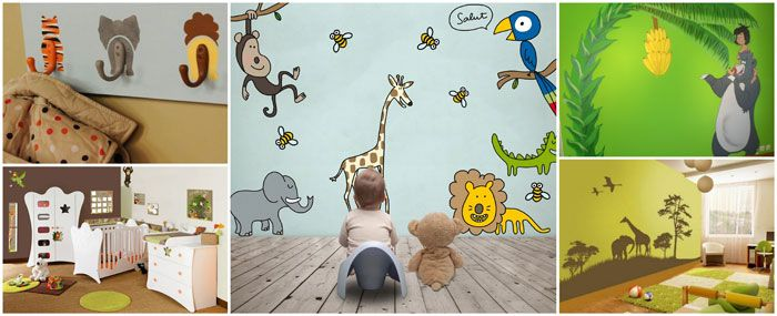 17 best images about chambre jungle on pinterest jungle - Stickers muraux bebe garcon ...