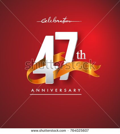 47th anniversary logotype with golden ribbon isolated on red elegance background, vector design for birthday celebration, greeting card and invitation card.