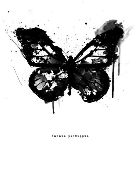 Tattoo Inspiration - Black Monarch by Amy Hamilton, paint splatter butterfly. #Art