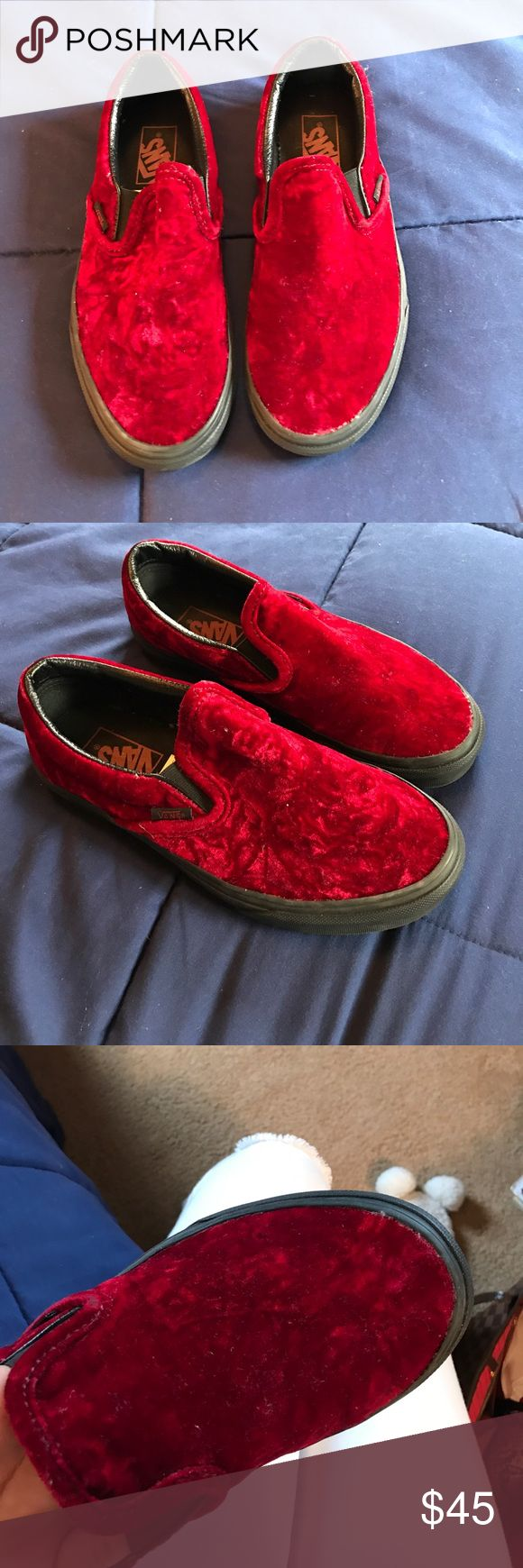 Vans Velvet Red Never worn Velvet Red Vans tennis shoes Vans Shoes Sneakers