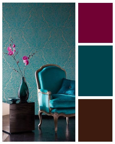 Teal Wall With A Red Hued Accent For-the-home