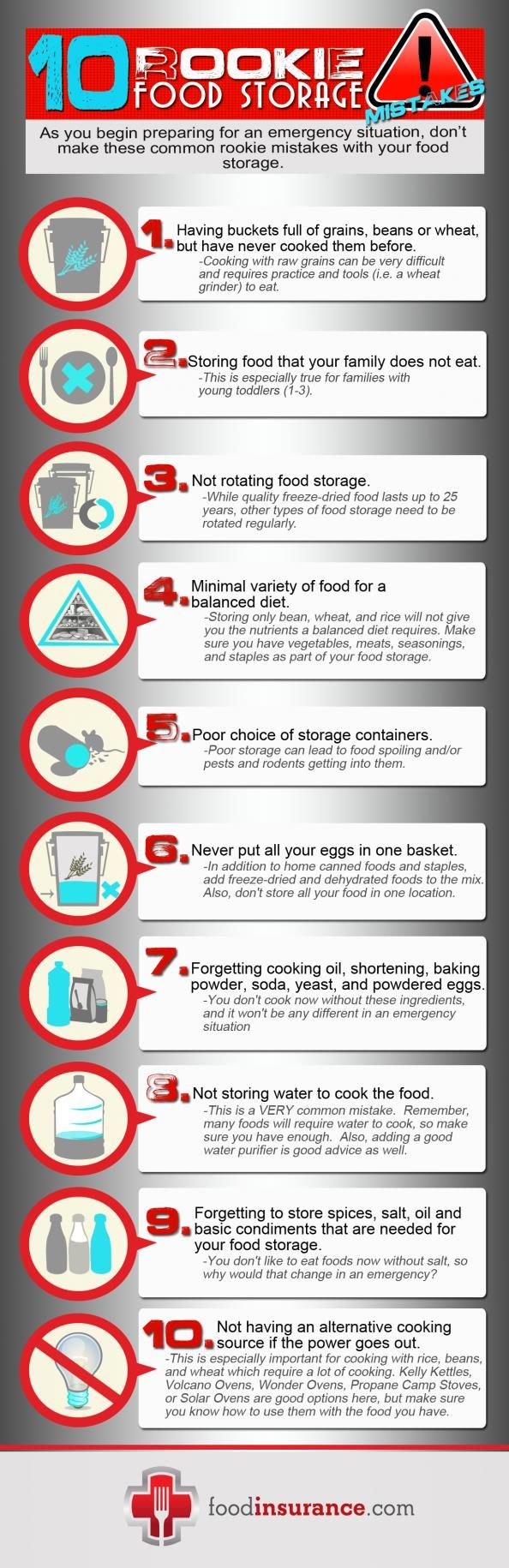 10 Rookie Food Storage Mistakes | Survival Prepping and Long Term Food Storage for Preparedness - Survival Life Blog: survivallife.com #survivallife #foodstorage #survival #prepping