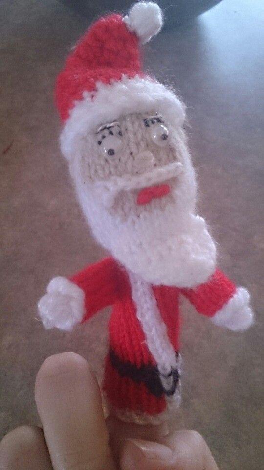 Knitted Santa - finger puppet