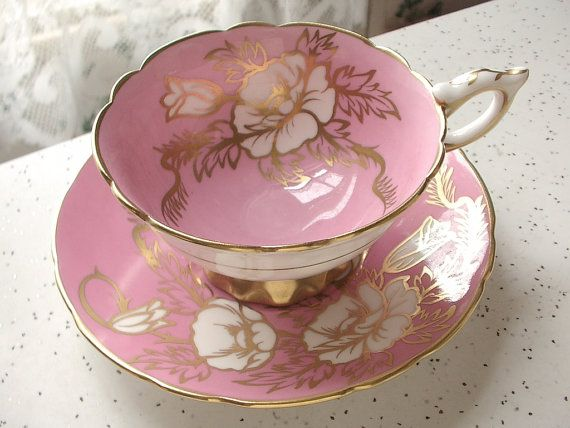 Antique English Royal Stafford Pink Tea Cup And Saucer