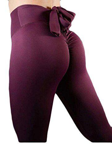 8bf558dd0ab NQ Womens High Waist Back Ruched Legging Butt Lift Yoga Pants Hip Push up  Workout Stretch Capris