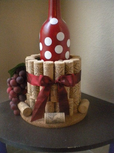 Cork Wine Bottle Holder....this would make a nice gift with a bottle of wine.