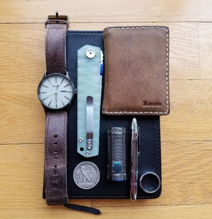 Sunday Morning Grab...  submitted by Jkyle  Roots leather wallet  Nixon Sentry Leather  US Half Dollar 1944  Stedemon C03D05 C03 SHY IV Linerlock Jade C03 SHY IV Linerlock Jade  Eccolo World Traveler  Fisher Space Pen Chrome Clip  Cobalt wedding ring  Olight S Mini Baton TI