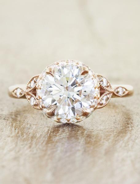 romantic round diamond rose gold engagement ring
